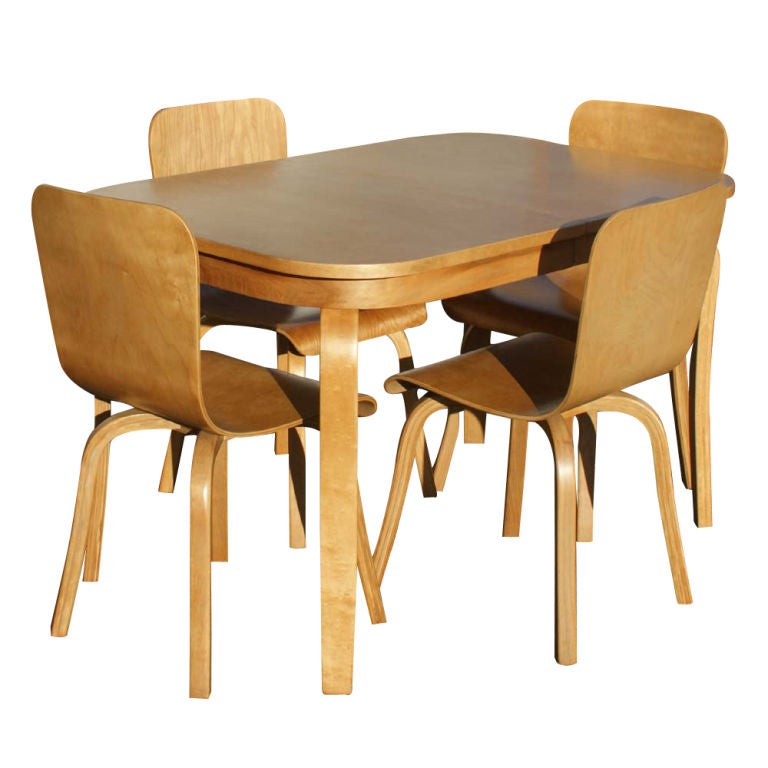 this bentwood birch dining table and four chairs is no longer