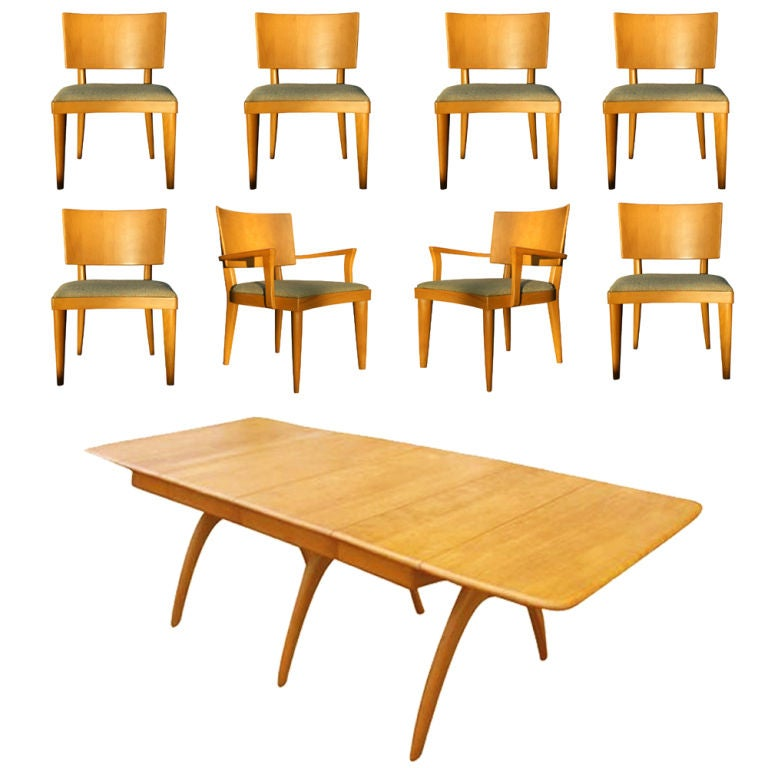 Heywood Wakefield Butterfly Dining Table And Eight Chairs