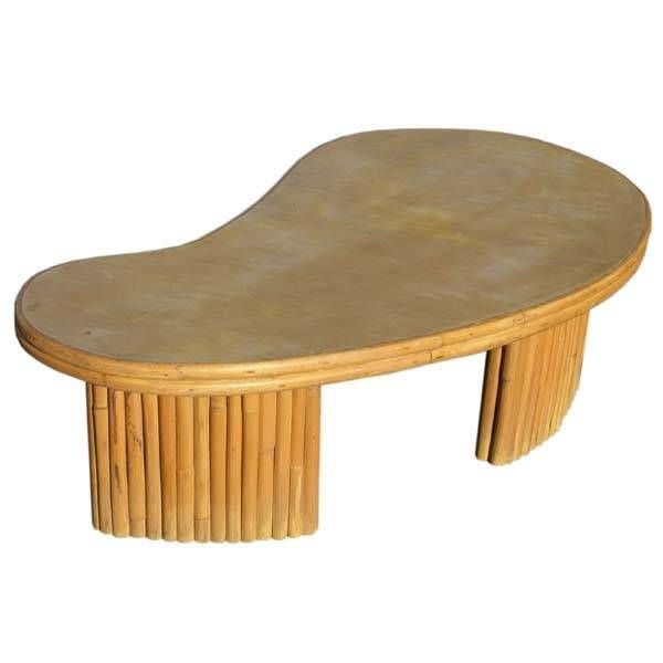 Vintage Kidney Shaped Bamboo Coffee Table At 1stdibs
