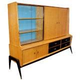 Danish Harewood And Oak China Cabinet And Sideboard