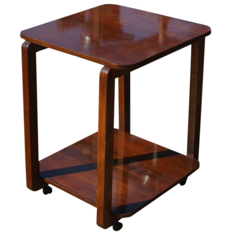 art deco two tier wooden cart side table for sale at 1stdibs. Black Bedroom Furniture Sets. Home Design Ideas