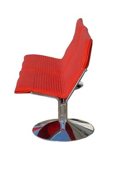 A Mid century modern two-seat settee designed by Klaus Franck and Werner Sauer for Wilkhahn in 1983.  Comfortable and stylish tandem seating with chrome bases and red upholstery.