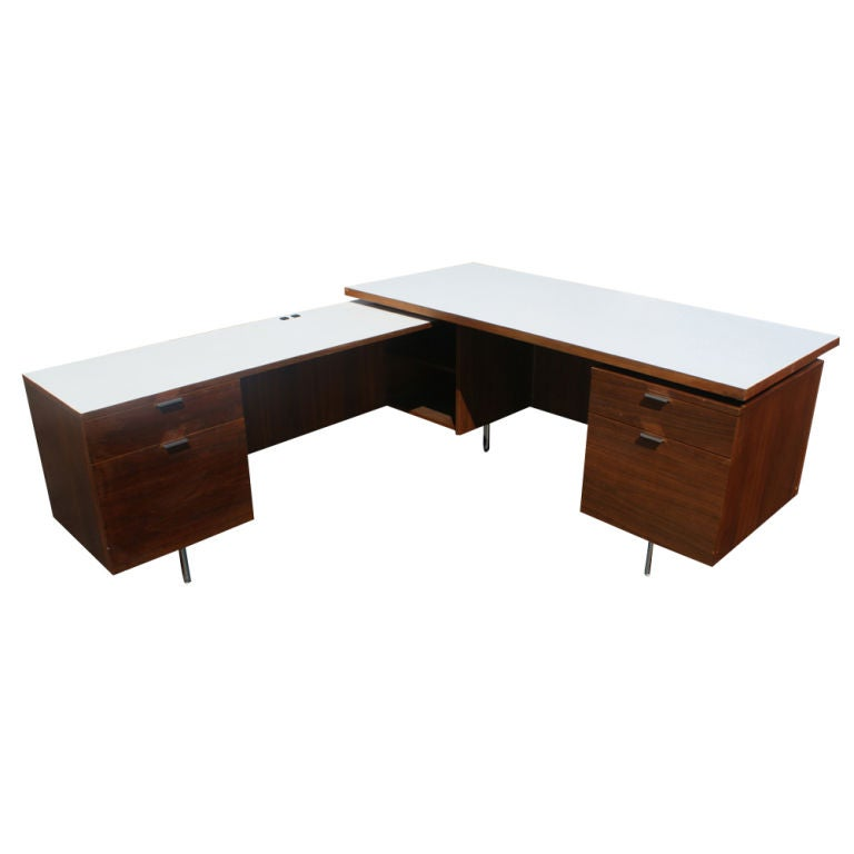 george nelson for herman miller l shaped walnut desk