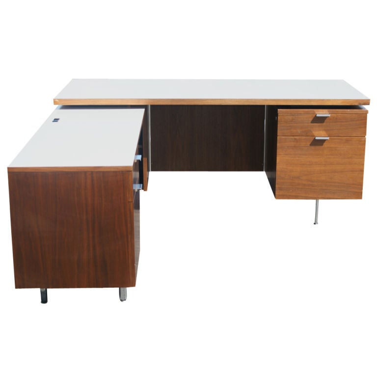 george nelson for herman miller l shaped walnut desk at 1stdibs