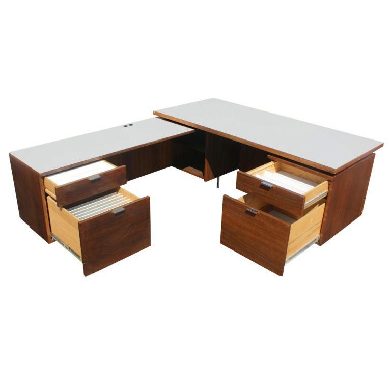 George Nelson For Herman Miller L Shaped Walnut Desk At