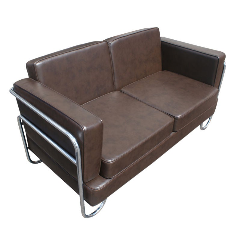 Art Deco Pel Tubular Chrome And Leather Sofa Settee For