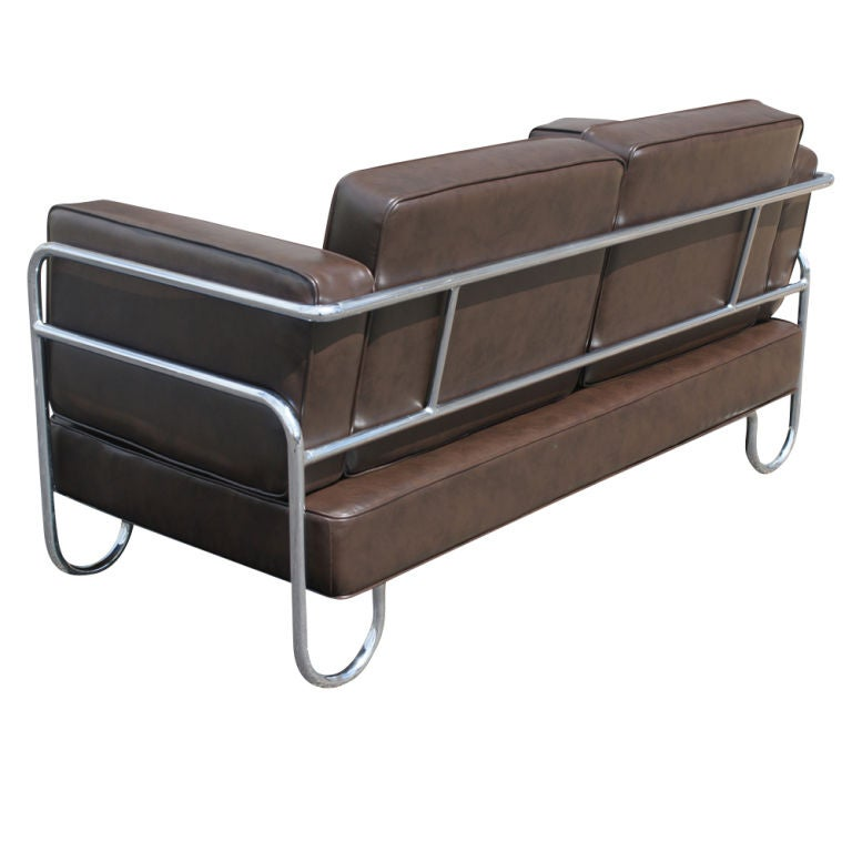 Art Deco P.E.L Tubular Chrome and Leather Sofa Settee In Good Condition For Sale In Pasadena, TX