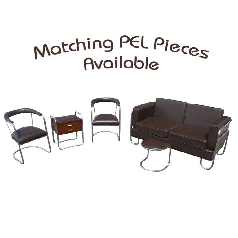 Mid-20th Century Art Deco P.E.L Tubular Chrome and Leather Sofa Settee For Sale