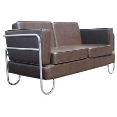 Art Deco Pel Tubular Chrome and Leather Sofa Settee