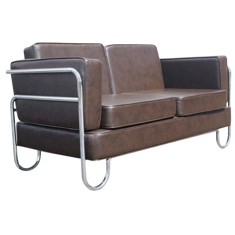 Art Deco P.E.L Tubular Chrome and Leather Sofa Settee For Sale