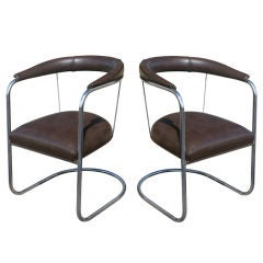 Pair Of Art Deco PEL Tubular Chrome And Leather Side Chairs