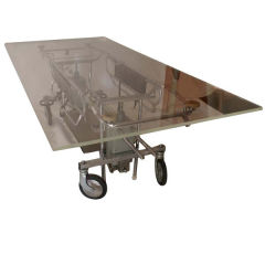 Large Industrial Stainless Steel and Acrylic Dining Table Desk