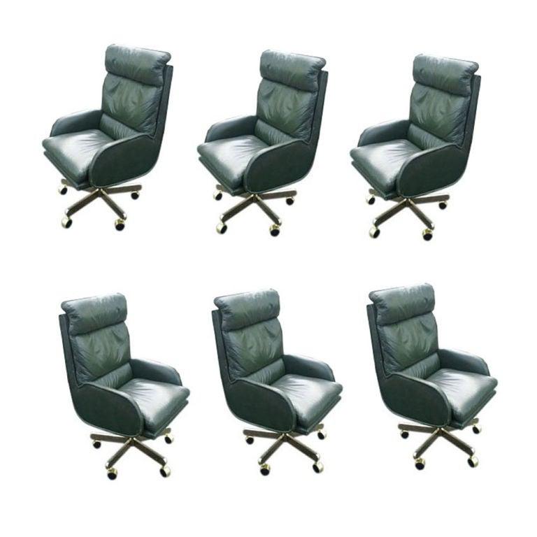 Leather Sofas Preston Lancashire: Six Bert England For Dunbar Green Leather Executive Chairs