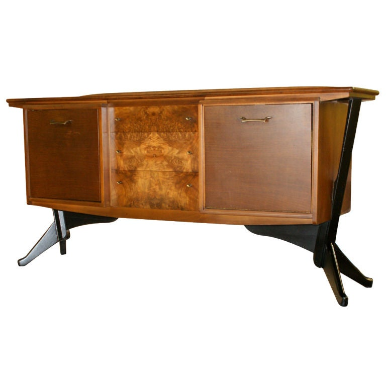 Mid century modern walnut and burl bar liquor cabinet at 1stdibs - Contemporary bar cabinet on a small budget ...