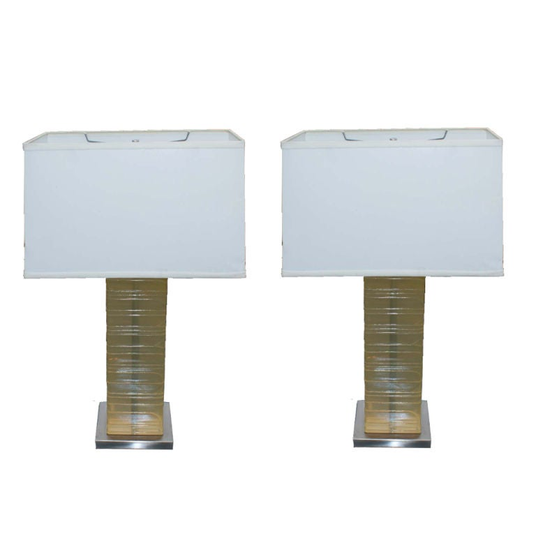 Pair of Acrylic and Chrome Lamps