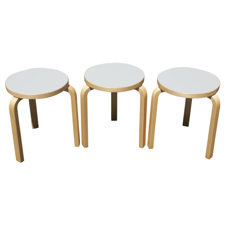 Three Alvar Aalto For Artek Scandinavian Side Tables