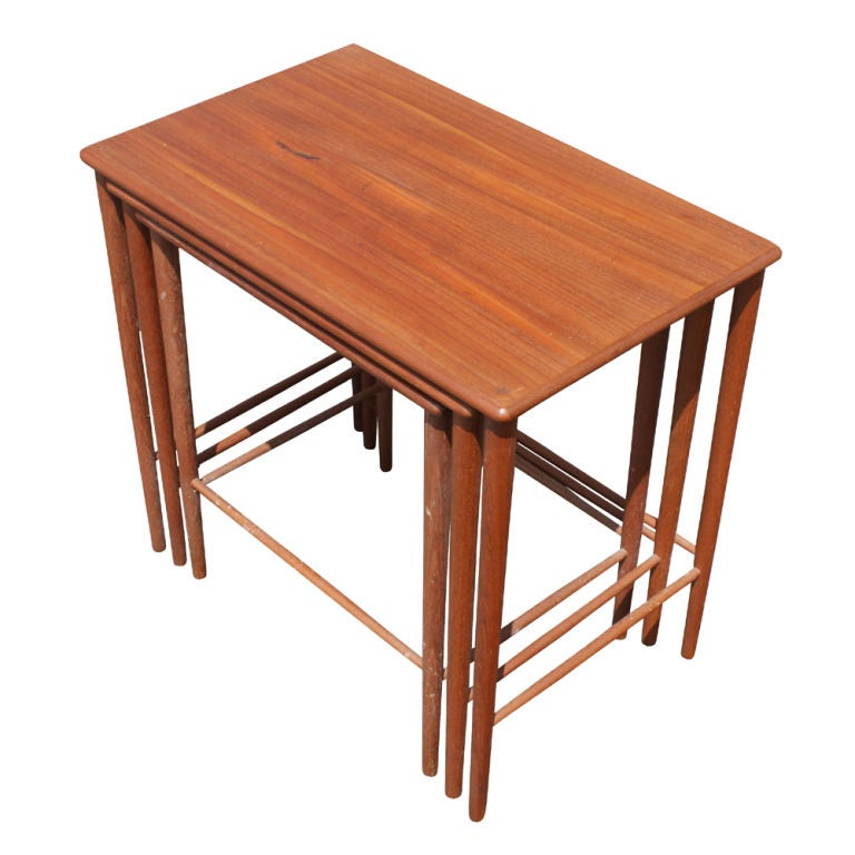 Set of Three Grete Jalk Danish Teak Nesting Tables For Sale