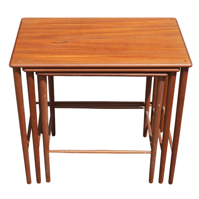 Set of Three Grete Jalk Danish Teak Nesting Tables In Good Condition For Sale In Pasadena, TX