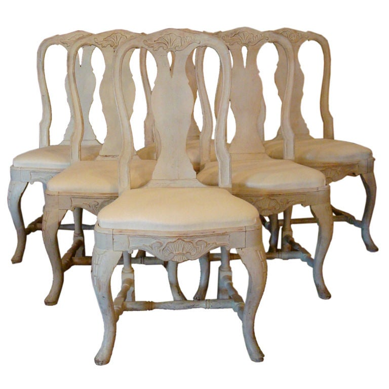 Set Of Six Rococo Dining Chairs At 1stdibs
