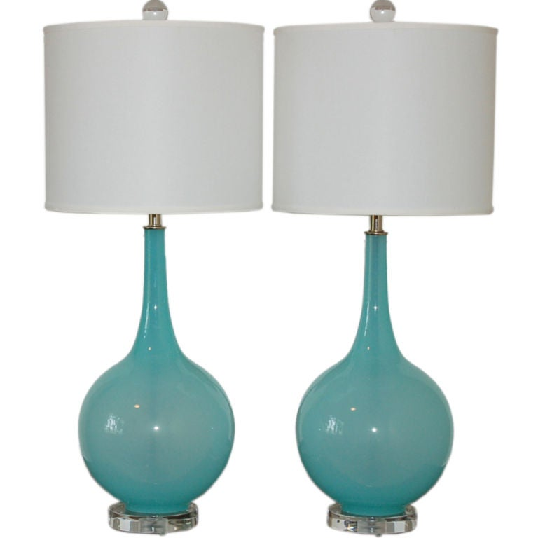Vintage Murano Table Lamps in Baby Blue on Lucite