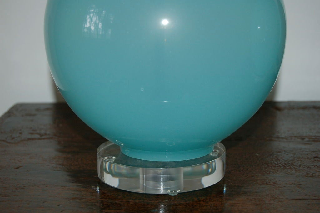 Vintage Murano Table Lamps in Baby Blue on Lucite image 4