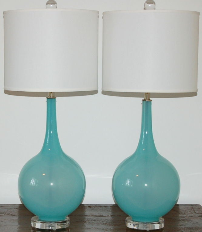 Vintage Murano Table Lamps in Baby Blue on Lucite image 3