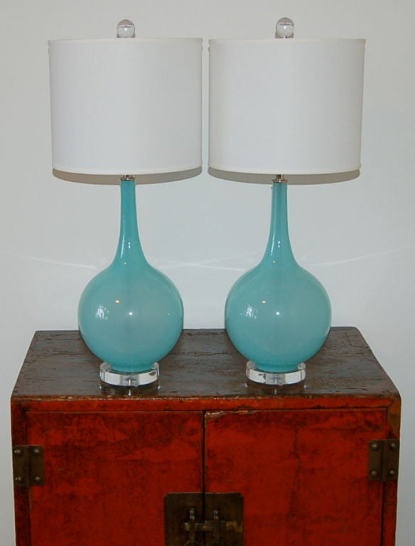 Vintage Murano Table Lamps in Baby Blue on Lucite image 9