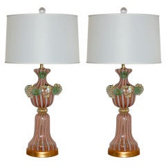 Orange Murano Table Lamps - Dino Martens
