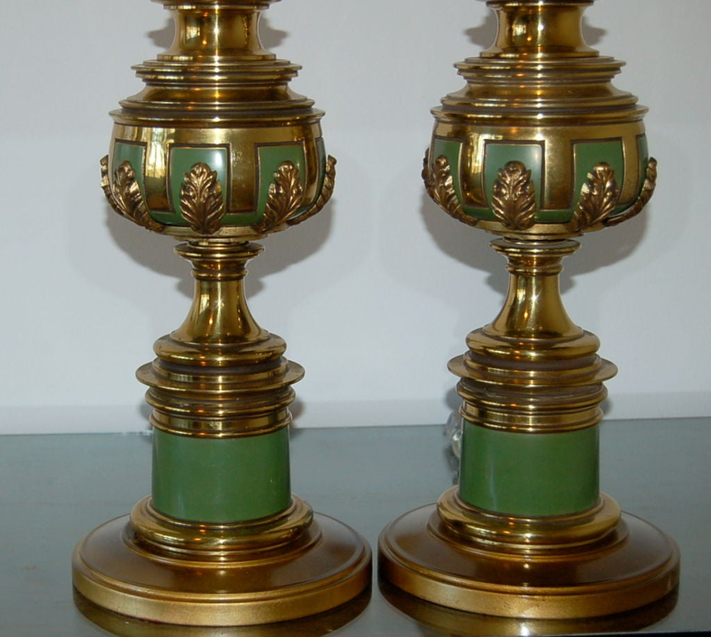 Mid Century Rembrandt Lamp: Mid Century Table Lamps Of Brass And Green Lacquer