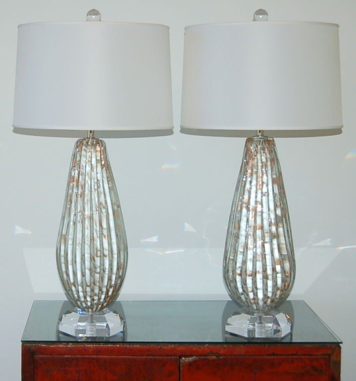 matched pair of vintage murano table lamps in vanilla and. Black Bedroom Furniture Sets. Home Design Ideas