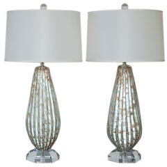 Matched Pair of Vintage Murano Table Lamps in Vanilla and Copper