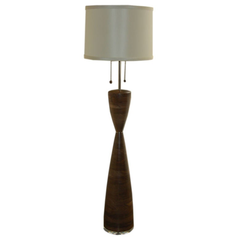 Stacked solid walnut floor lamp by amy grigg at 1stdibs for Chunky wooden floor lamp
