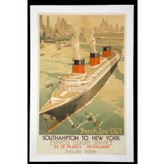 Original 'French Line CGT-Southampton to New York' poster, 1936