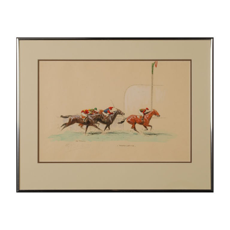 Maisons laffitte race track original signed by eugene for Home decor maisons laffitte