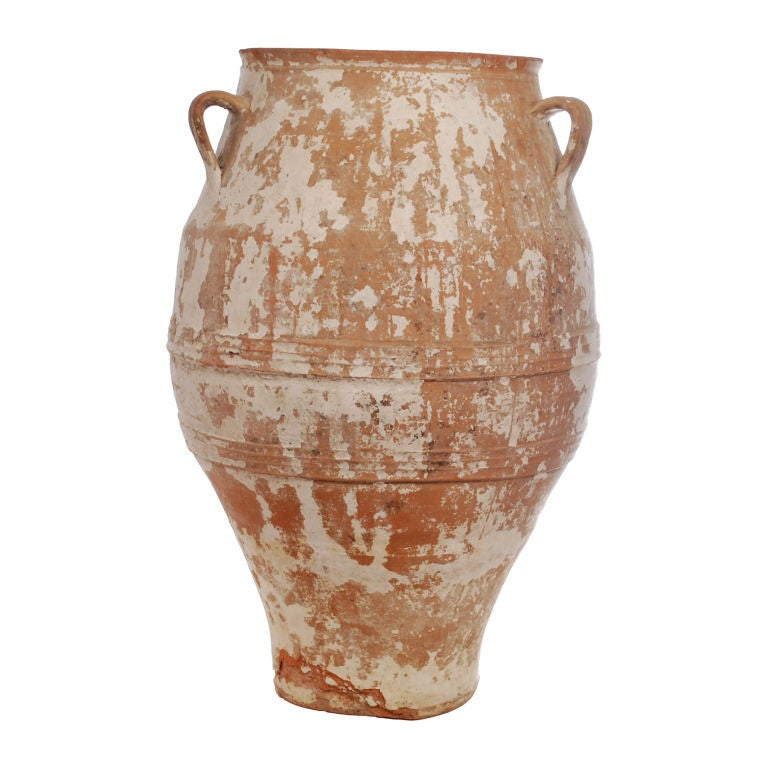 Large Greek Terra Cotta Olive Jar With 3 Handles At 1stdibs
