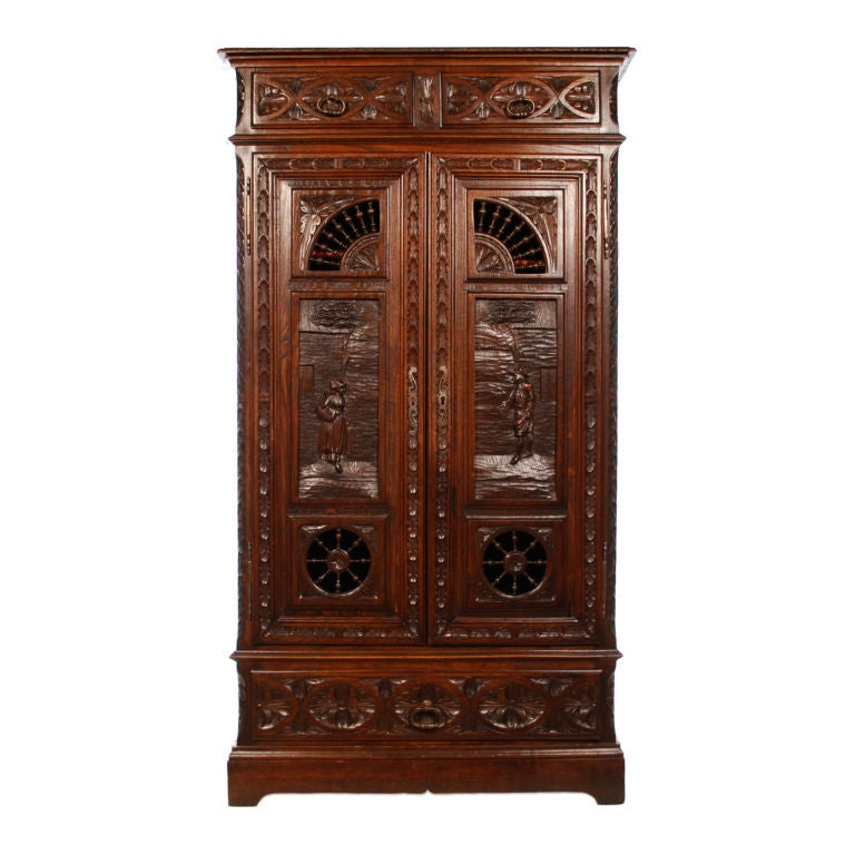 Hand Carved French Double Door Cabinet From Brittany 19th C At 1stdibs