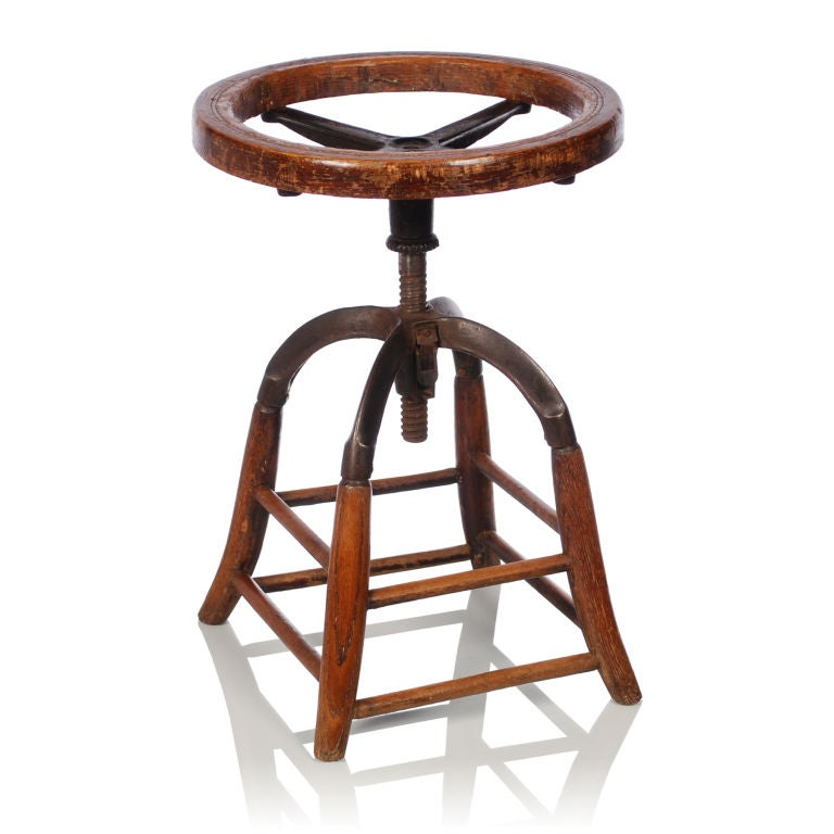 Oak Wood Vintage Industrial Stool With Swivel Seat At 1stdibs