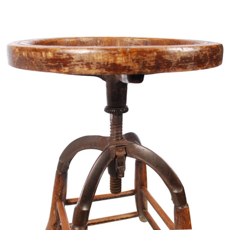 Oak wood vintage industrial stool with swivel seat at stdibs