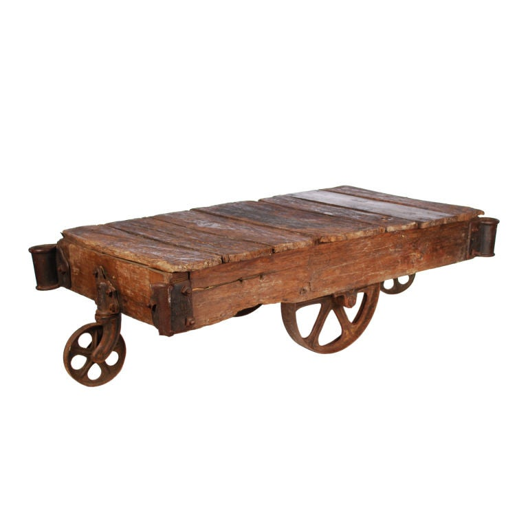 Authentic Industrial Factory Cart Coffee Table