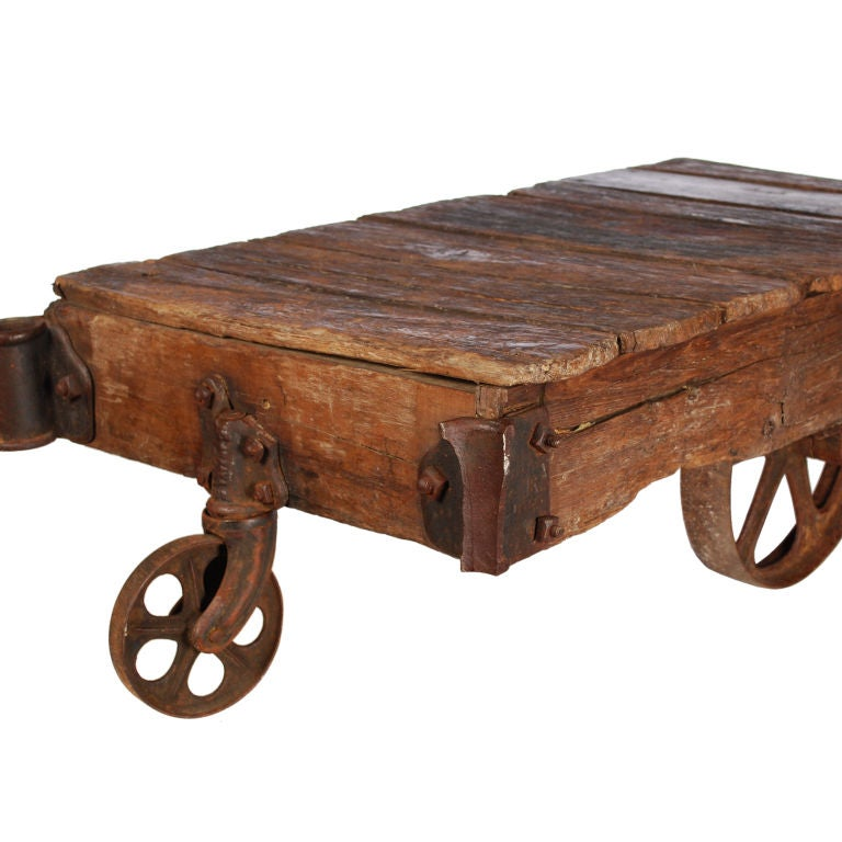 Industrial Coffee Table On Wheels At 1stdibs: Authentic Industrial Factory Cart / Coffee Table At 1stdibs