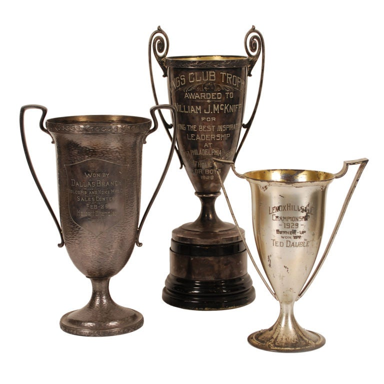 Collection of Large Antique Silver-plate Trophies