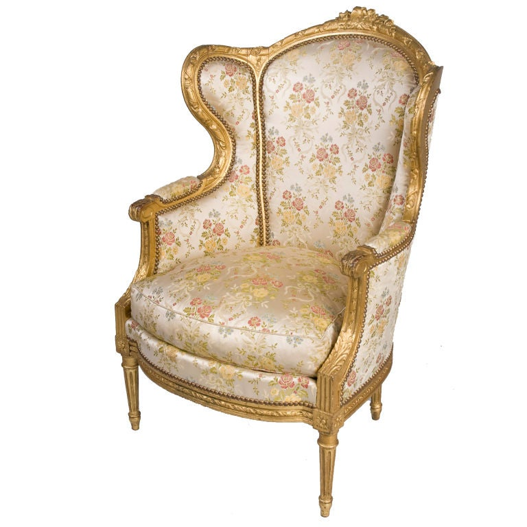louis xvi style gilt bergere armchair at 1stdibs. Black Bedroom Furniture Sets. Home Design Ideas