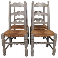 Set of Four Painted Provencal Chairs