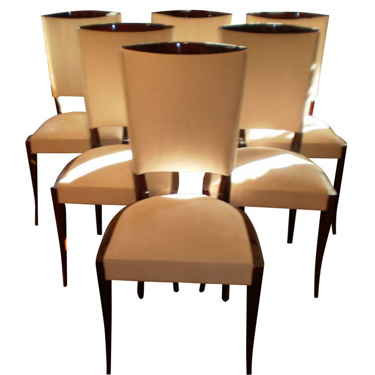 Set Of 6 French Art Deco Dining Chairs At 1stdibs