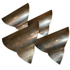 French Art Deco Triangular Form Steel Sconces, Set of Four