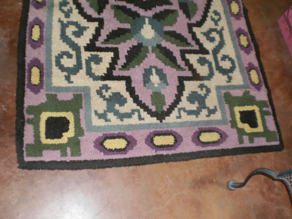 Wool French Art Deco Rug in the Style of Jules Leleu For Sale