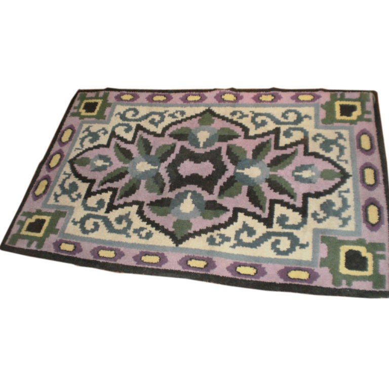 French Art Deco Rug in the Style of Jules Leleu In Good Condition For Sale In Houston, TX