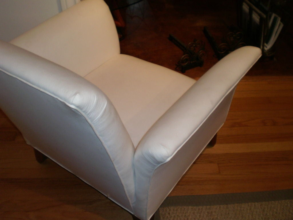 Fabric French Art Deco Walnut Club Chair Inspired by André Arbus For Sale