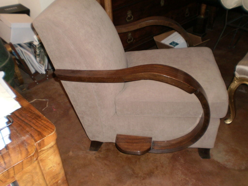 French Art Deco Walnut Lounge Chair Inspired By Rene Prou 4