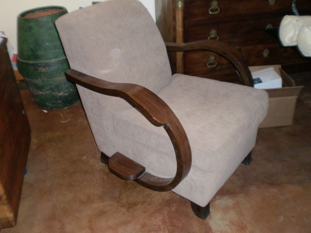 French Art Deco Walnut Lounge Chair Inspired By Rene Prou 6